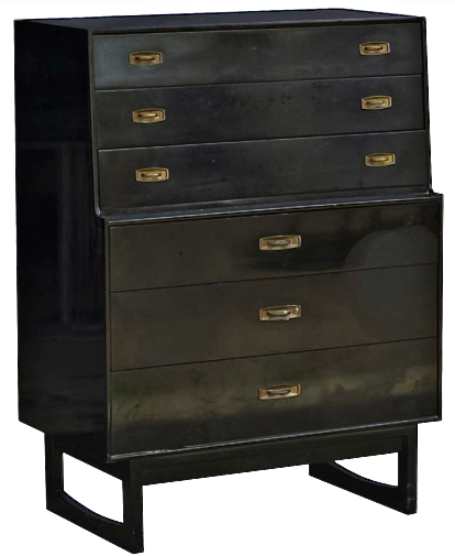 1960 S Black Lacquer Chest Of Drawers