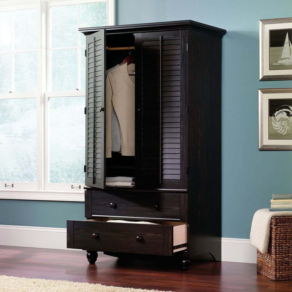 Furniture: Dark Colored Wardrobe Armoire With Drawers Combined With  Laminate Floor As Well As Blue