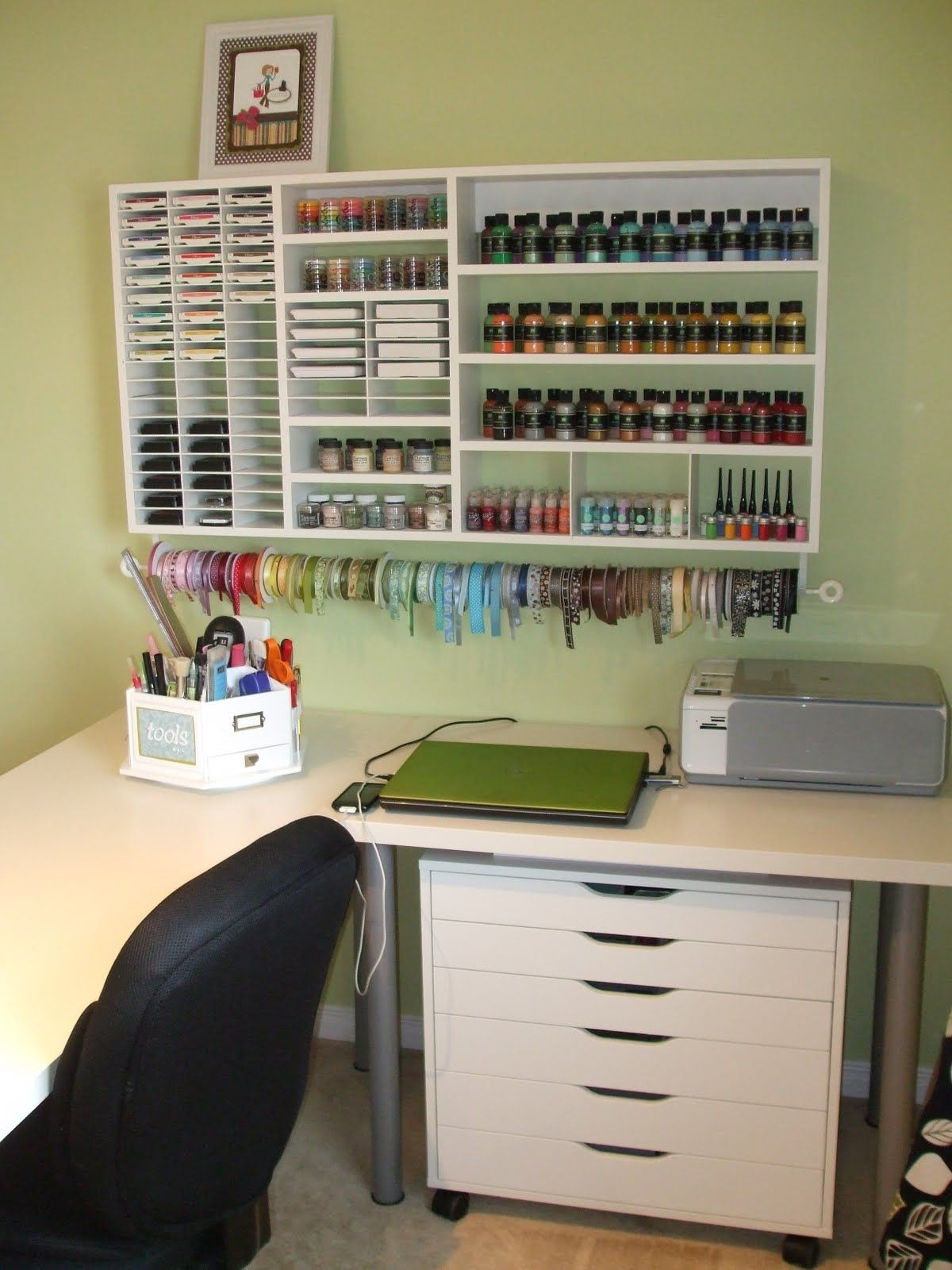 scrapbooking room i want that filled with nail polish and make up with a mirror in front of it. Black Bedroom Furniture Sets. Home Design Ideas