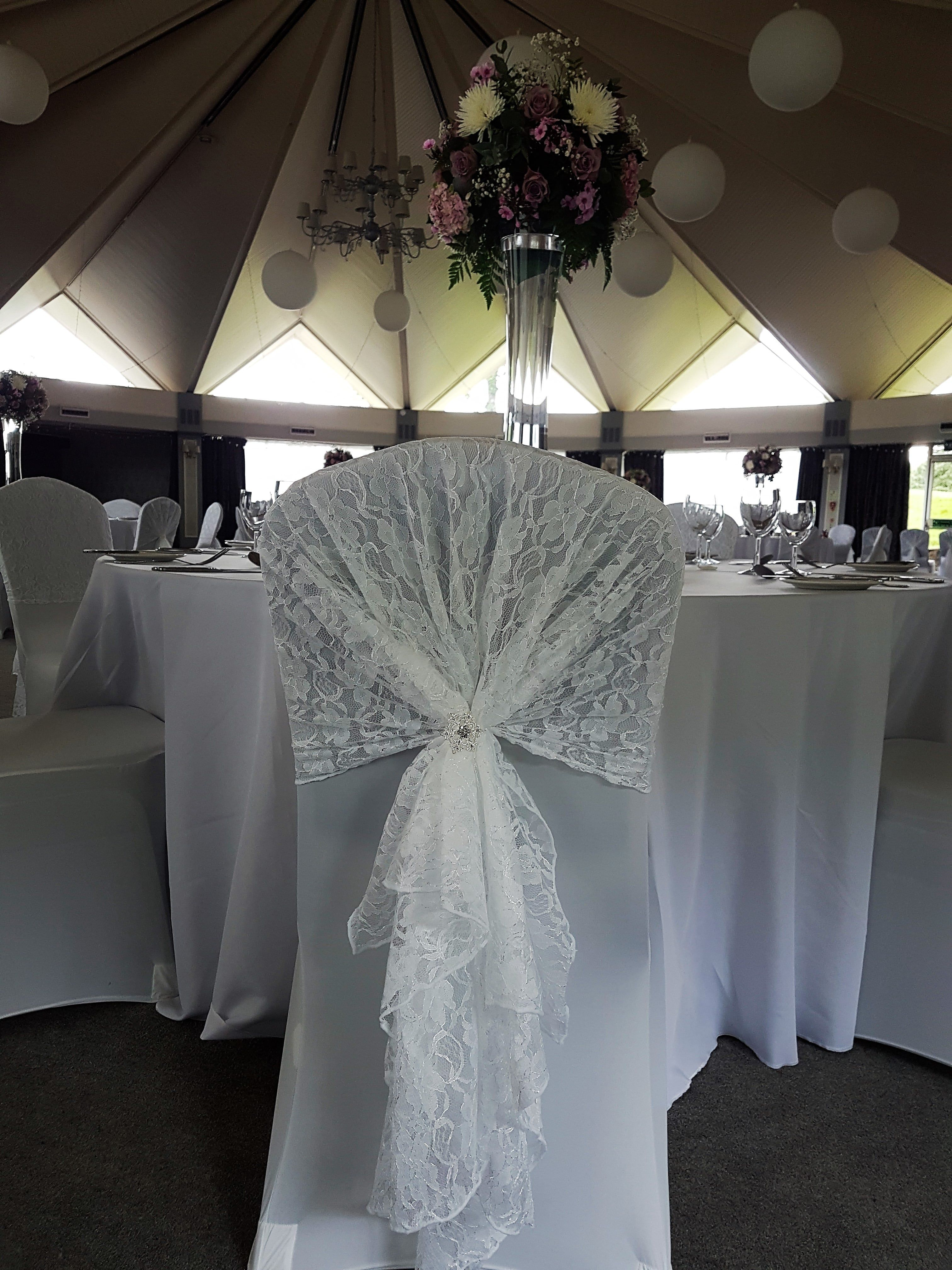 White Lace Wedding Chair Hood At Atholl Palace By Eze Events