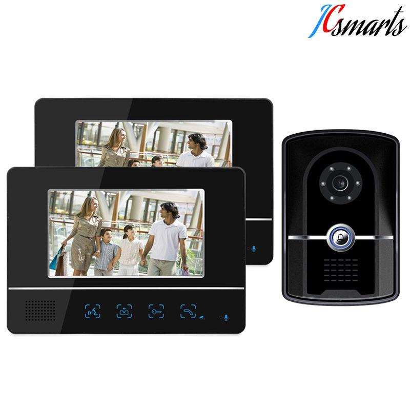 Jcsmarts Wired Touch Key Video Doorbell 7 Color Door Monitor Video Intercom Doorphone Intercom System Waterproof D Intercom Doorbell Camera Wall Mounted Table