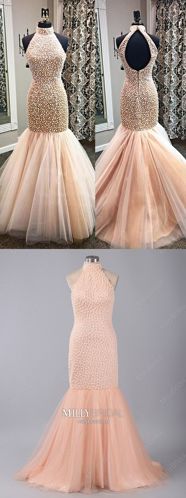 Pearl pink prom dresses longsparkly formal evening dresses open