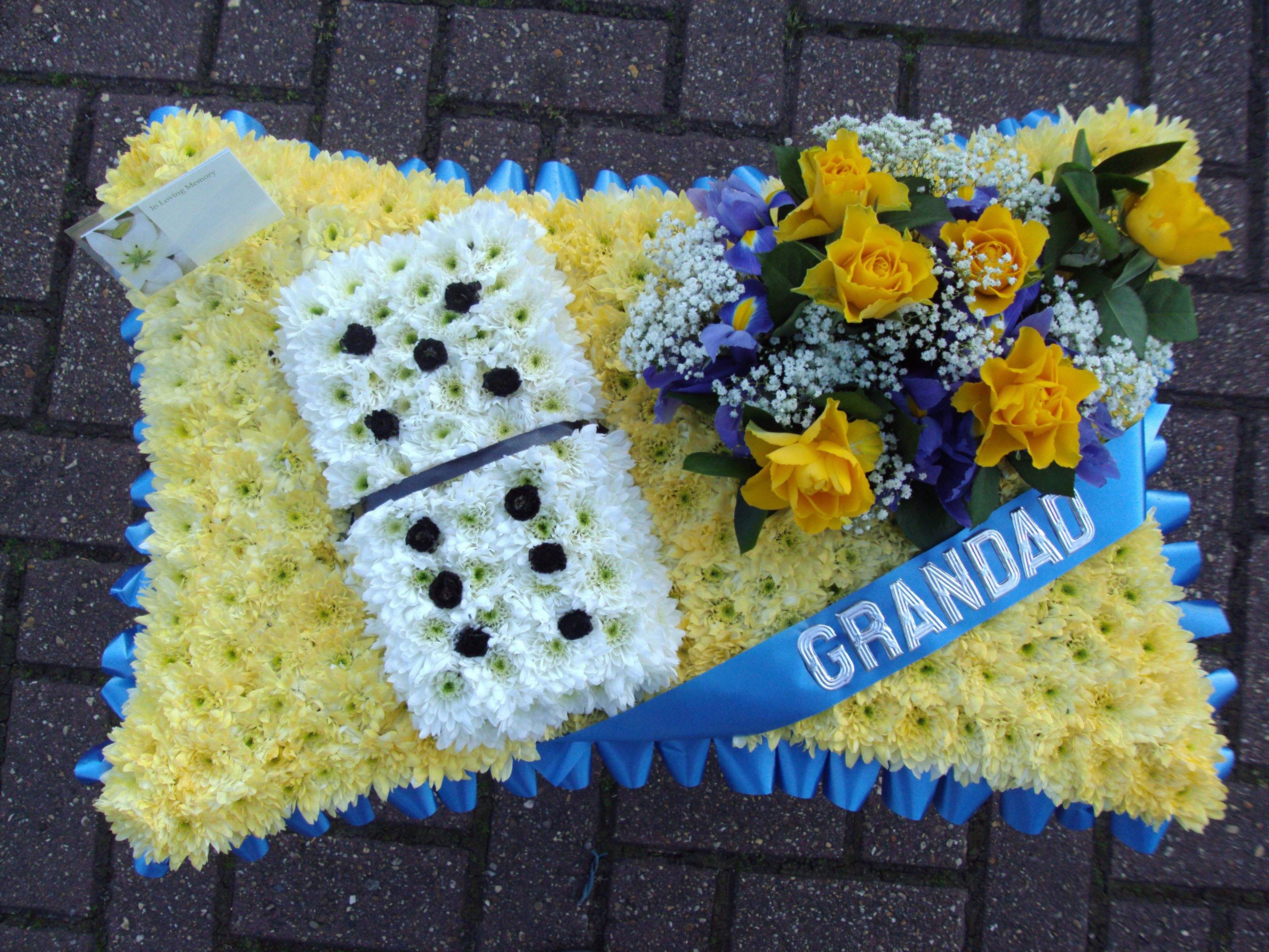 Pillow With Domino And Arrangement In Blues And Yellow Creative