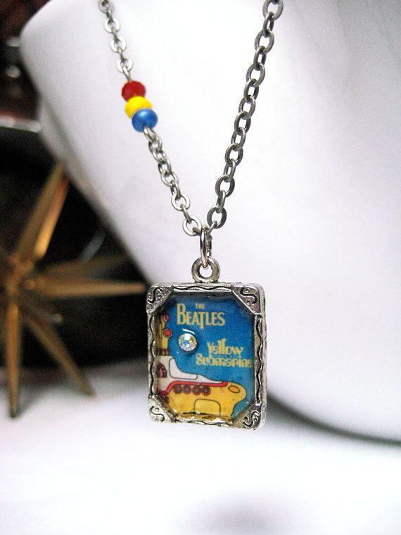 Silver Beatles Necklace Yellow Submarine by MidCityMod on Etsy