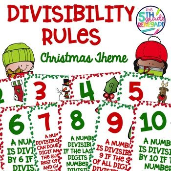 Divisibility Rules Posters in Color with a Christmas Theme