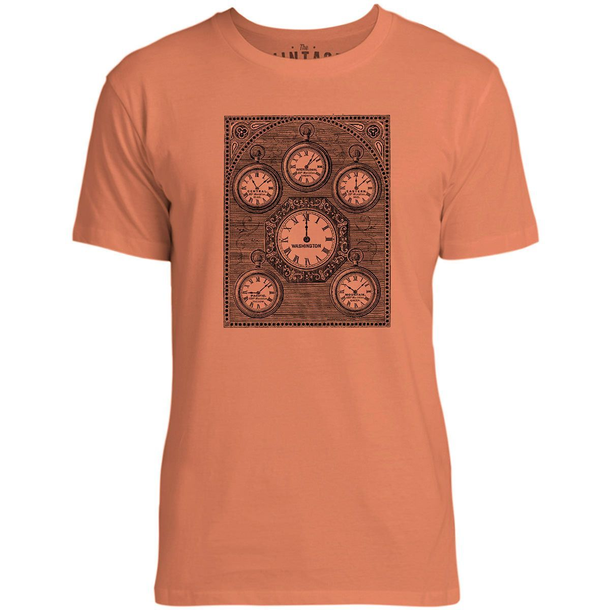 Mintage Antique International Clock Mens Fine Jersey T-Shirt (Coral)