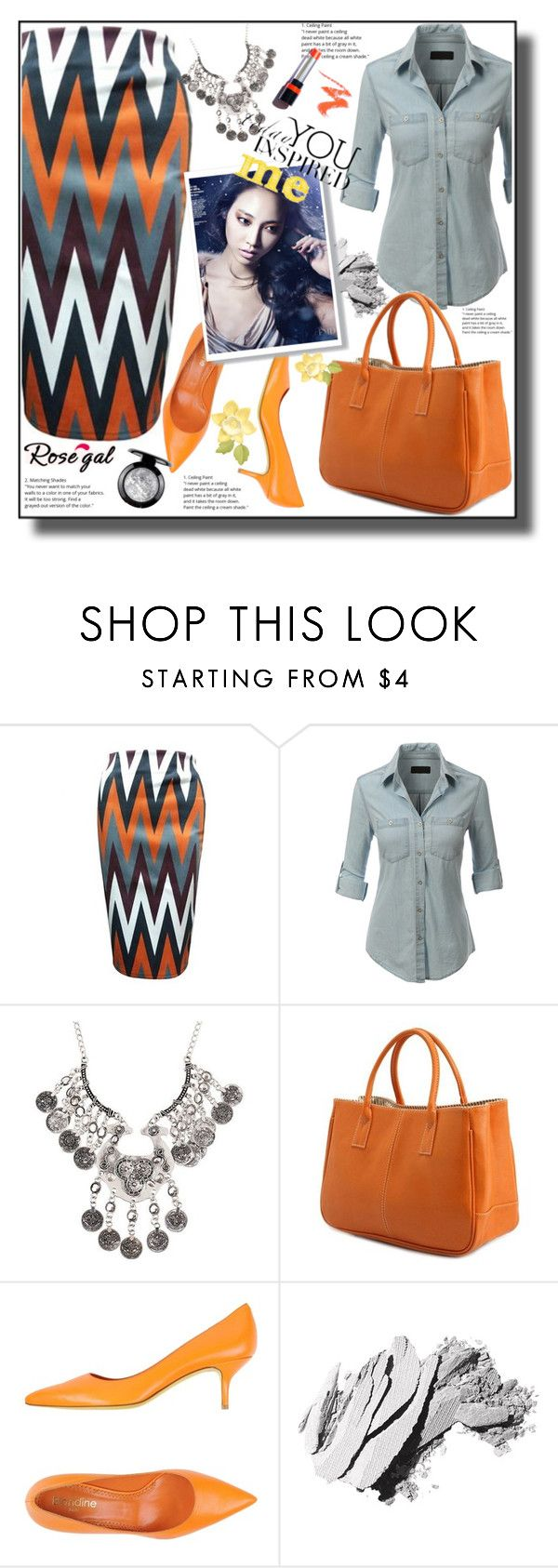 """""""Zigzag Skirt 54"""" by ramiza-rotic ❤ liked on Polyvore featuring LE3NO and Bobbi Brown Cosmetics"""
