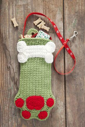 Dog Paws Christmas Stocking - Free crocheting patterns - how to ...