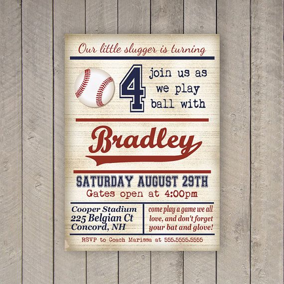 Vintage Baseball Birthday Invitations: Baseball Birthday Invitation, Baseball Party Invite