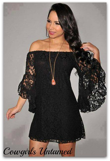 b4b579d1d70f COWGIRL GYPSY DRESS Black Stretchy Lace Off the Shoulder Western Mini Dress  Tunic Top