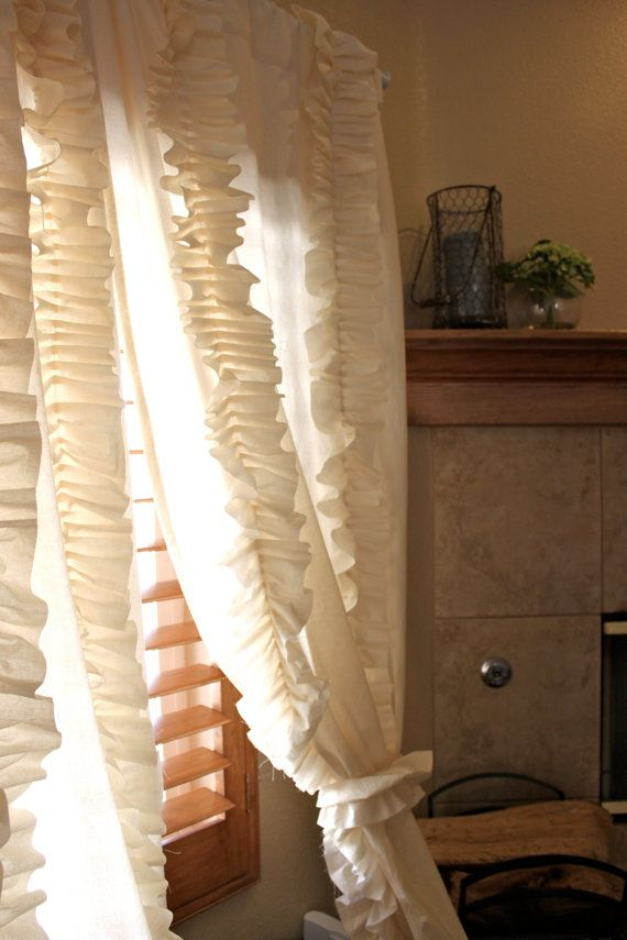 Cream Falling Ruffle Curtain by SelahJamesHandmade on Etsy, $120.00