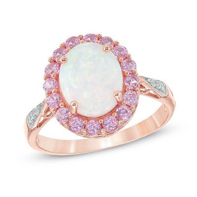 Zales Oval Lab-Created Opal and White Sapphire Split Shank Ring in Sterling Silver with 14K Gold Plate U62j8Scj