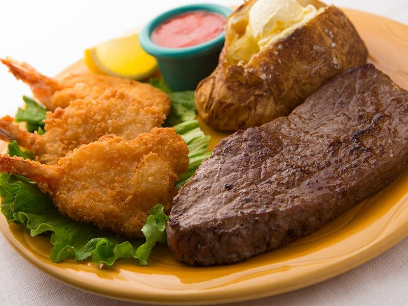 New Usda Choice Sirloin Steak And Shrimp 7 Oz Sirloin Steak And 3 Pieces Of Crispy Golden Fried Shrimp Served With A Cup Of Soup Or A Kings House Salad