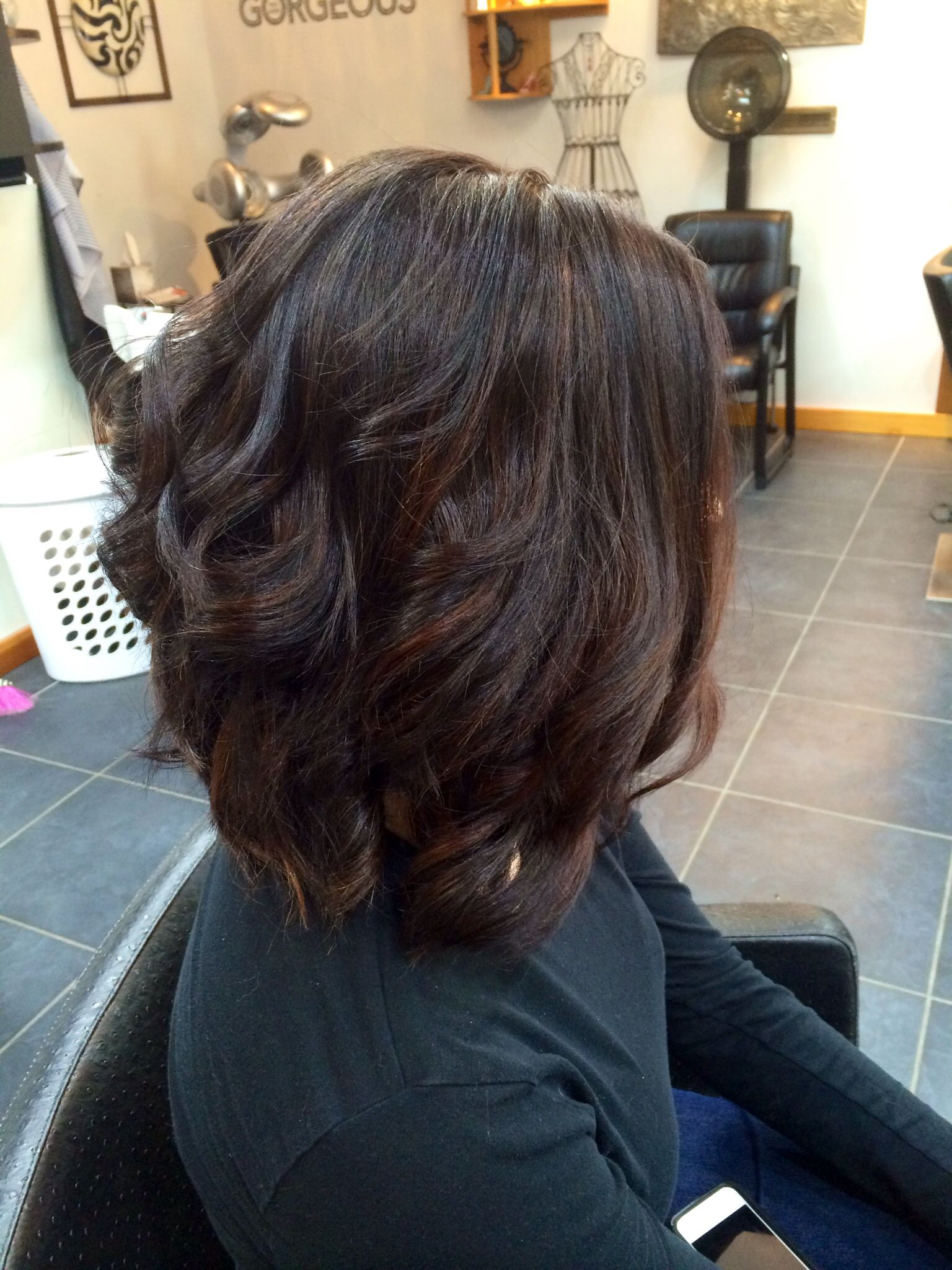 Short haircut with dark base color and balayage highlights short
