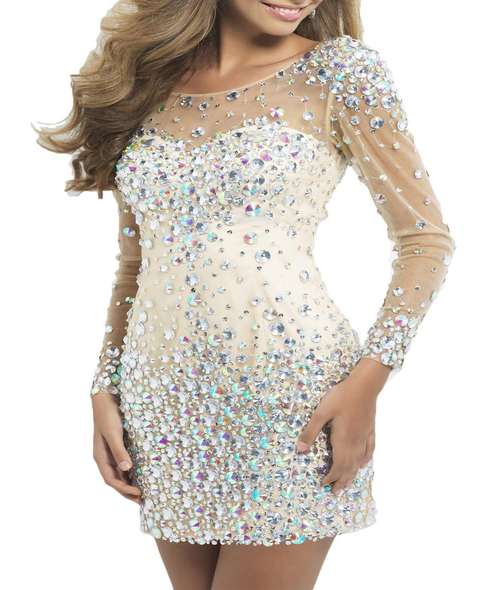 Bkskk womenus sexy cocktail dresses long sleeves crystal short