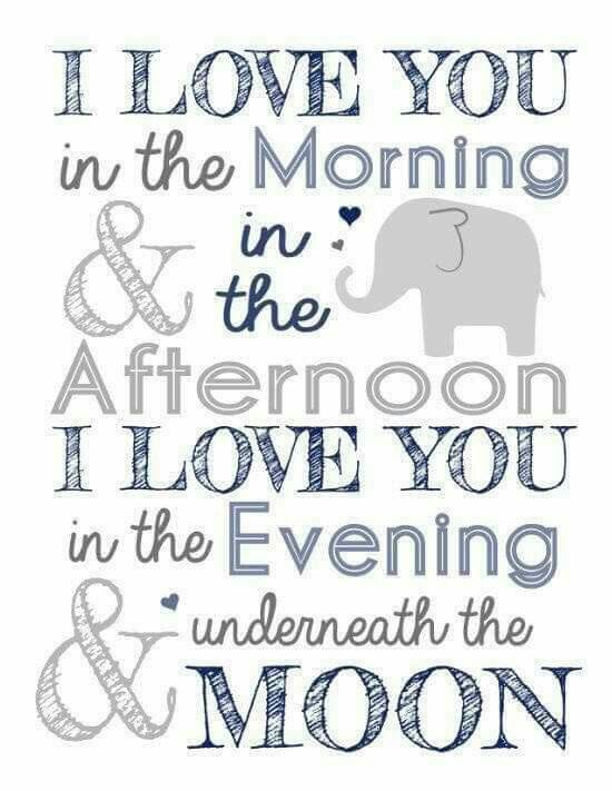 I Love You In The Morning And In The Afternoon Babydreng Bornevaerelse Born