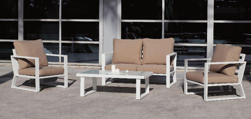 salon de jardin h v a bolonia aluminium blanc 4 places. Black Bedroom Furniture Sets. Home Design Ideas