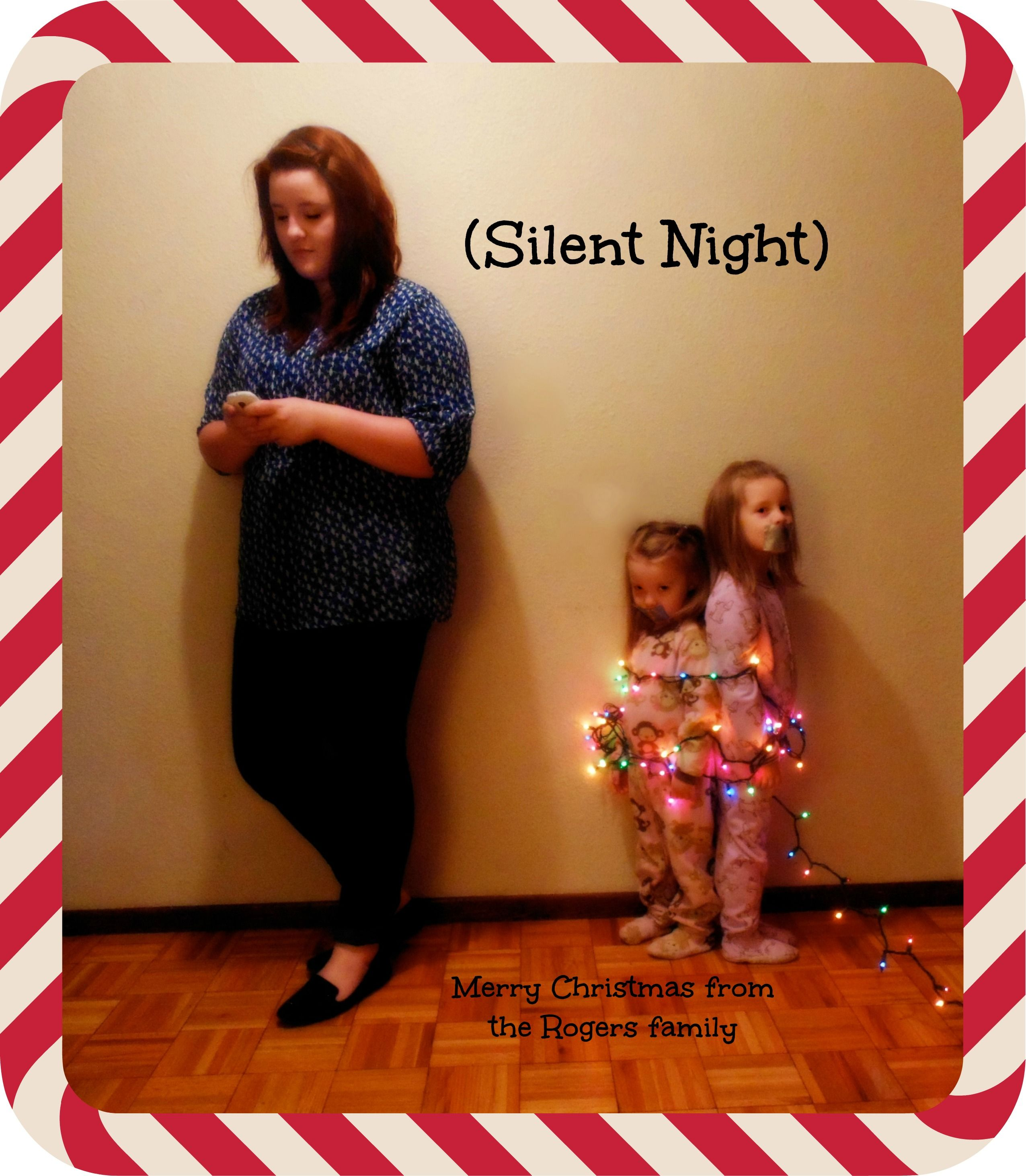 Silent Night Christmas Card (texting teen, younger siblings wrapped ...