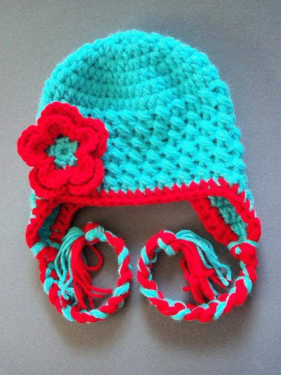 Children Crochet Hat, Toddler Ear Flap Hat, Baby Girl Hat - Made To ...
