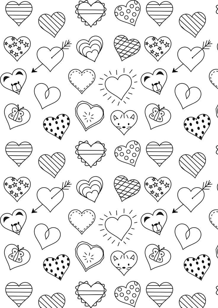 Free Printable Heart Coloring Page Ausdruckbare Ausmalseite