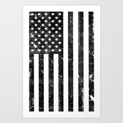 Dirty Vintage Black and White American Flag Art Print by directgifts