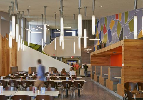 Custom Facet Grid Syracuse University S Sadler Dining Hall Multipurpose Room Design Cafeteria Design College Dining Hall