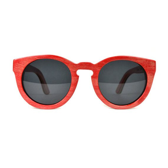 Red Rounded Maple Wood Sunglasses, 7-Ply Wooden Eyewear, Recycled Skateboard Wood Sunglasses on Etsy, $65.00