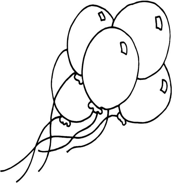 Five Shining Balloon Coloring Page Coloring Sky