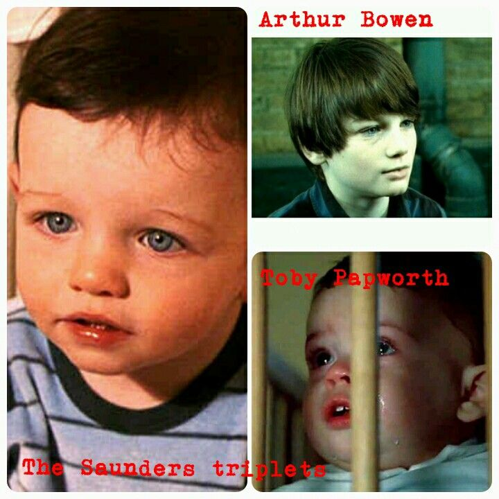 The Triplets Who Played Baby Harry In Hp1 And The Boy Who Played Him In Hp7 And Arthur Bowen Wh Harry Potter Ron Weasley Harry Potter Ron Draco Harry Potter