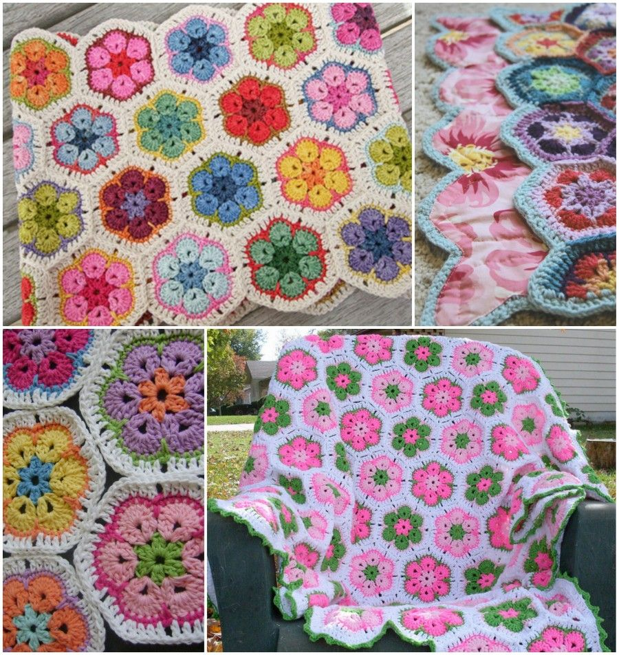 African Flower Hexagon Crochet Pattern Free : Crochet African Flower Blankets - Free Pattern and Video ...