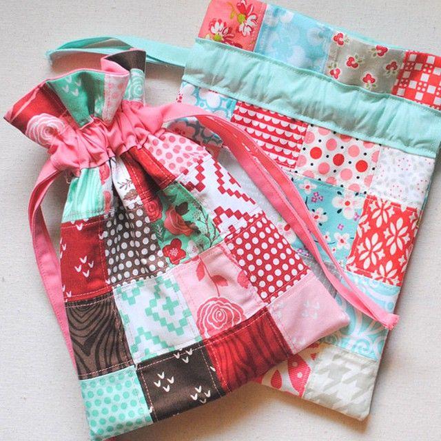 last minute gift tutorial patchwork french seam drawstring bag rh pinterest com