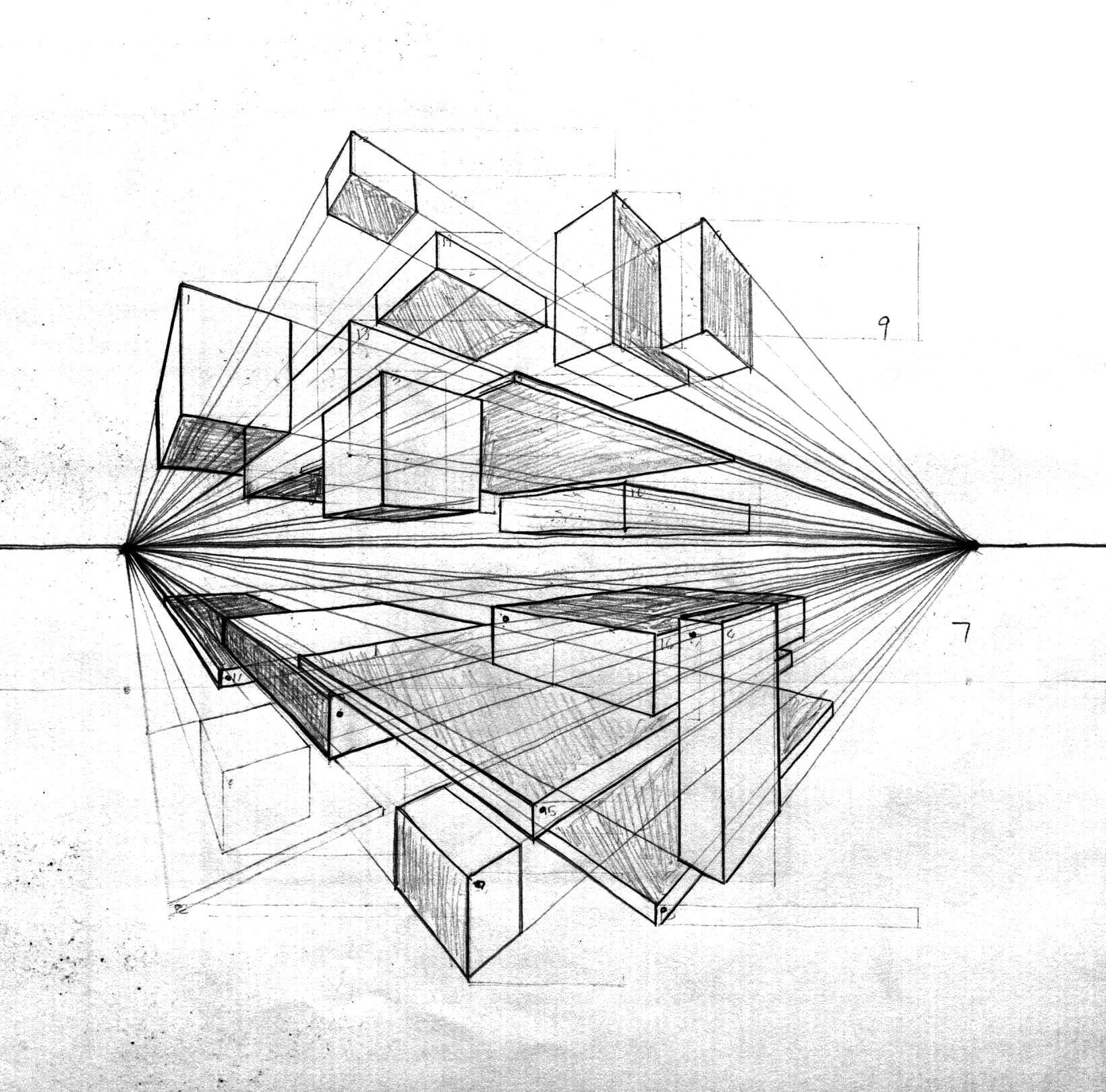 Two Point Perspective Art Design Architecture Drawing