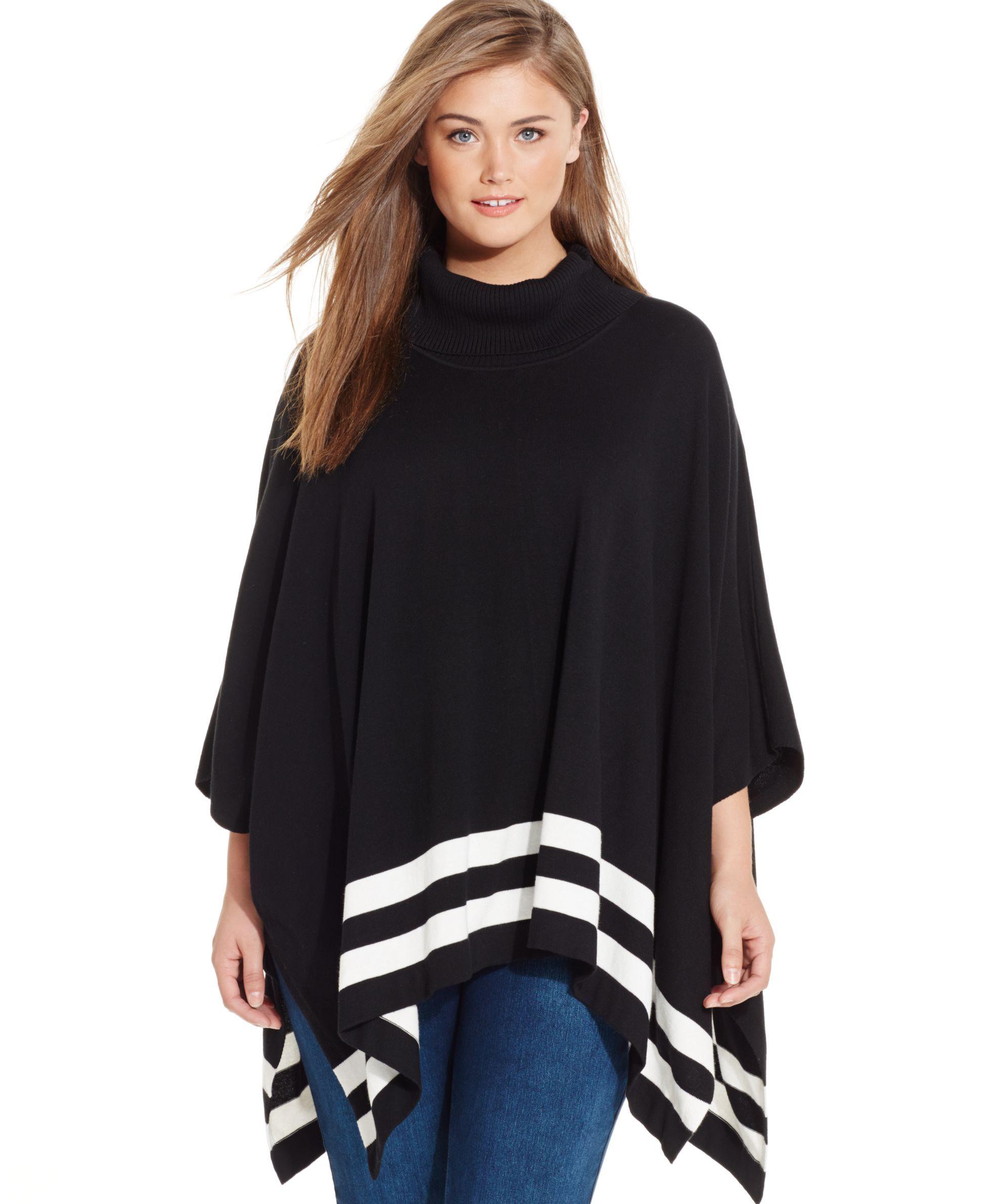 7fe81dba9940d2 Calvin Klein Plus Size Striped Poncho Sweater   palas   Poncho ...