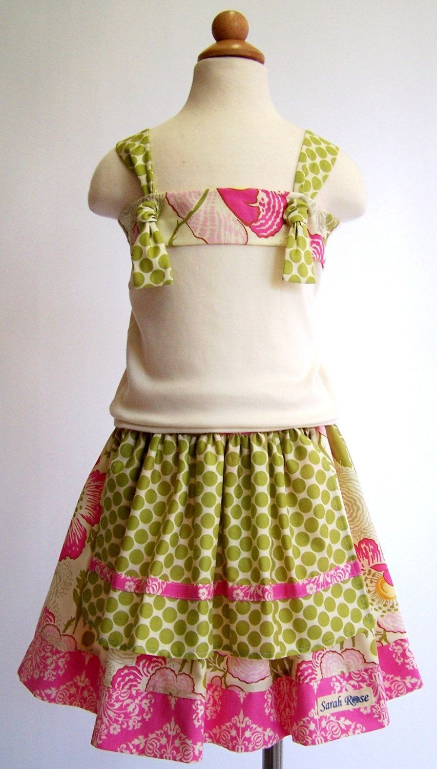 Girls Alex Apron Twirl Skirt and Knot Tank by SarahRoseBoutique.
