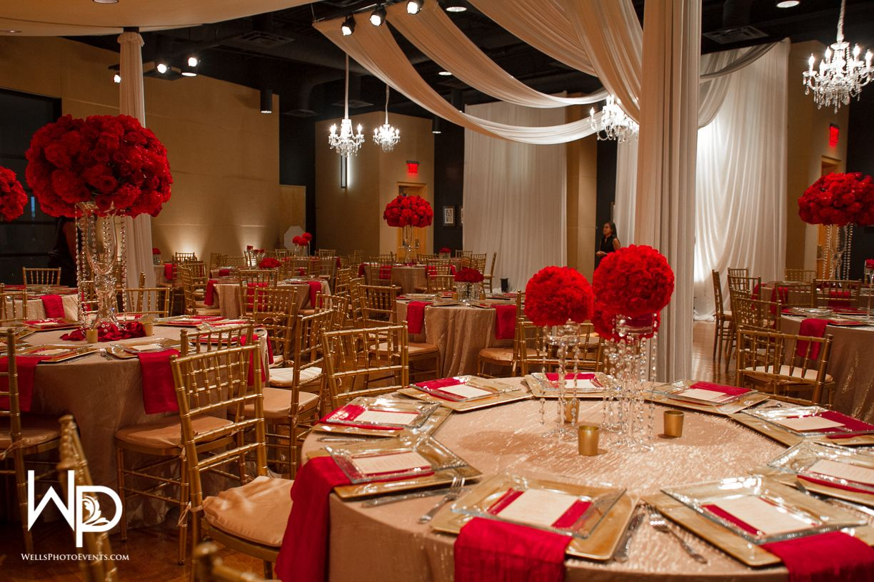 red and gold wedding at wo music school in 2019 | gold