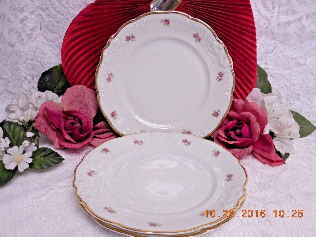 8259 by Walbrzych China Small Roses, Embossed Edge, Gold Trim, 3 Salad – Rose Cottage Scents