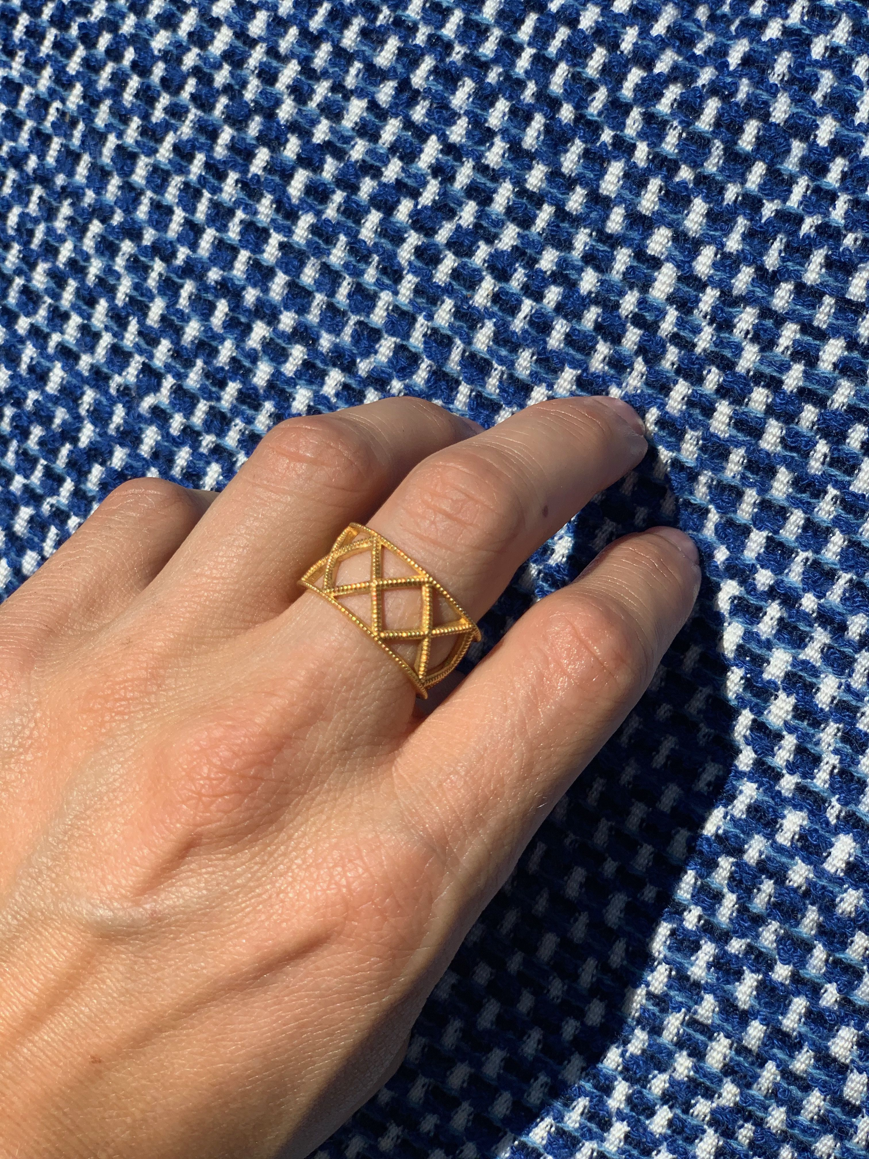 Wide Gold Criss Cross Ring by Berlinger Jewelry Wedding