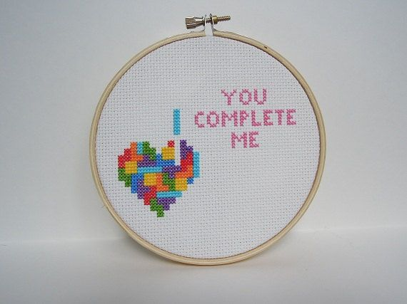 Tetris Heart - You Complete Me Cross Stitch