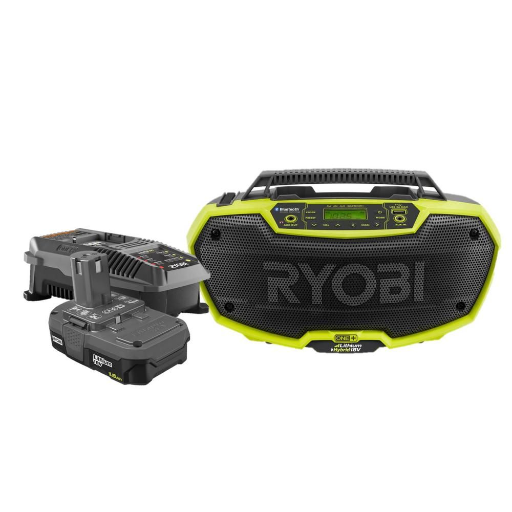 RYOBI 18-Volt ONE+ Lithium-Ion Hybrid Stereo with Bluetooth Technology with 1.5 Ah Compact Battery and Charger-P746KN #bluetoothtechnology