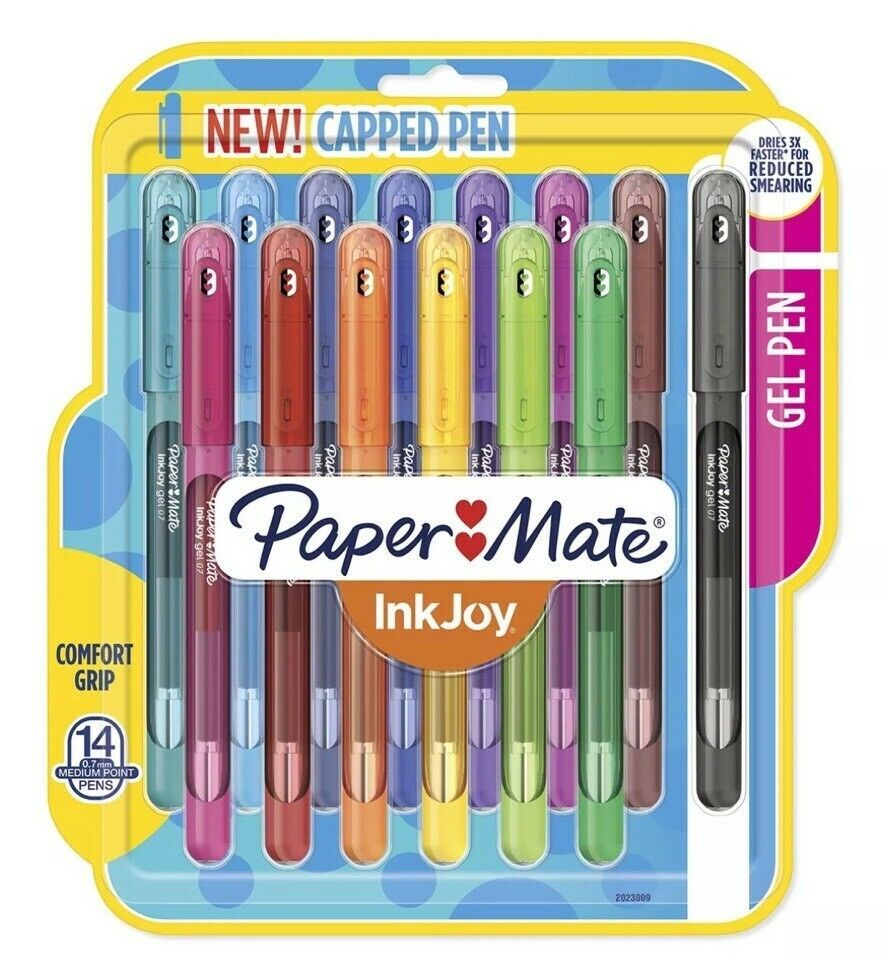 Paper Mate Capped Ball Pen Fine Tip 0.7mm Assorted Colours NEW Pack of 10