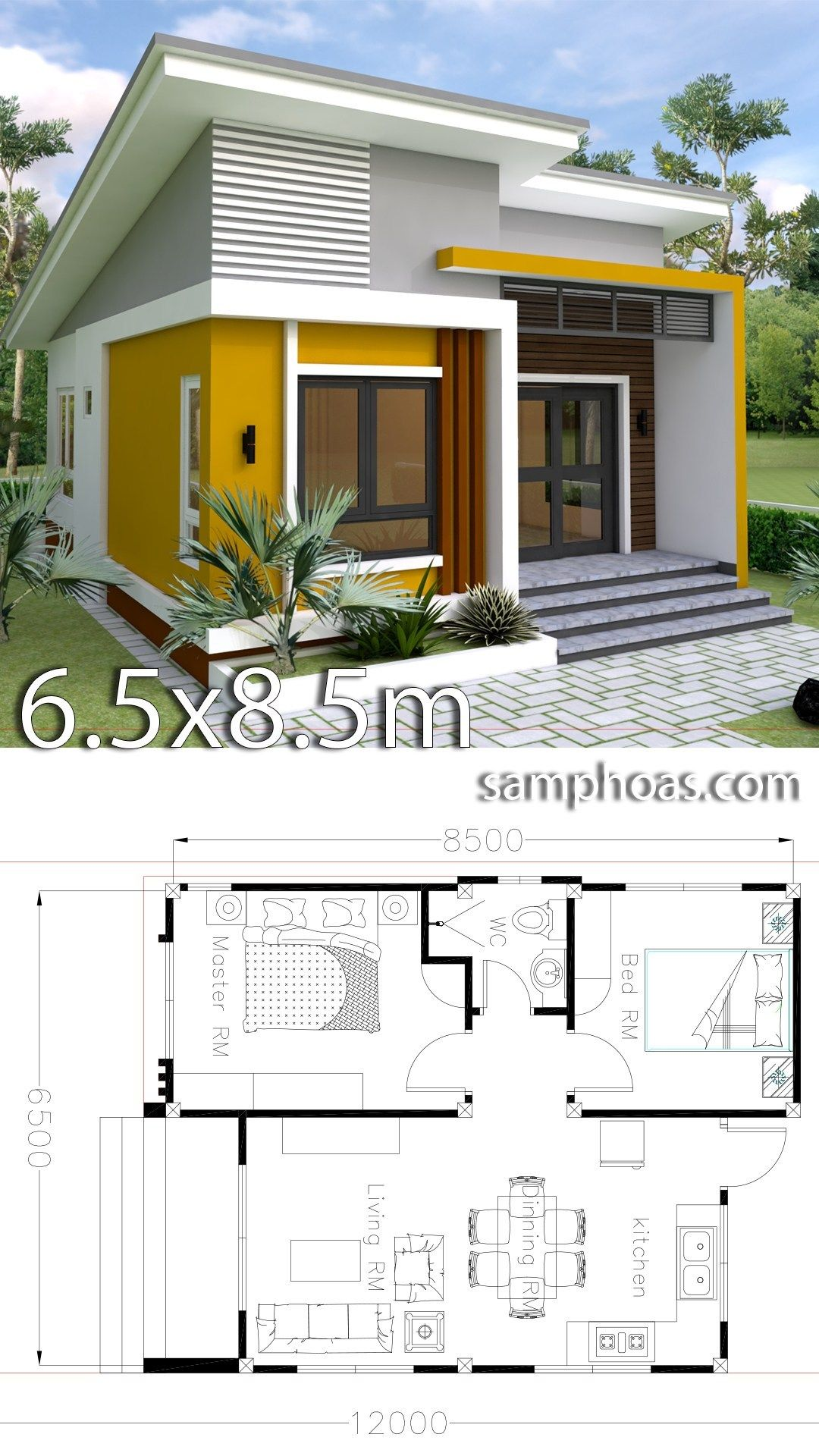 Small Home Design Plan 6 5x8 5m With 2 Bedrooms Simple