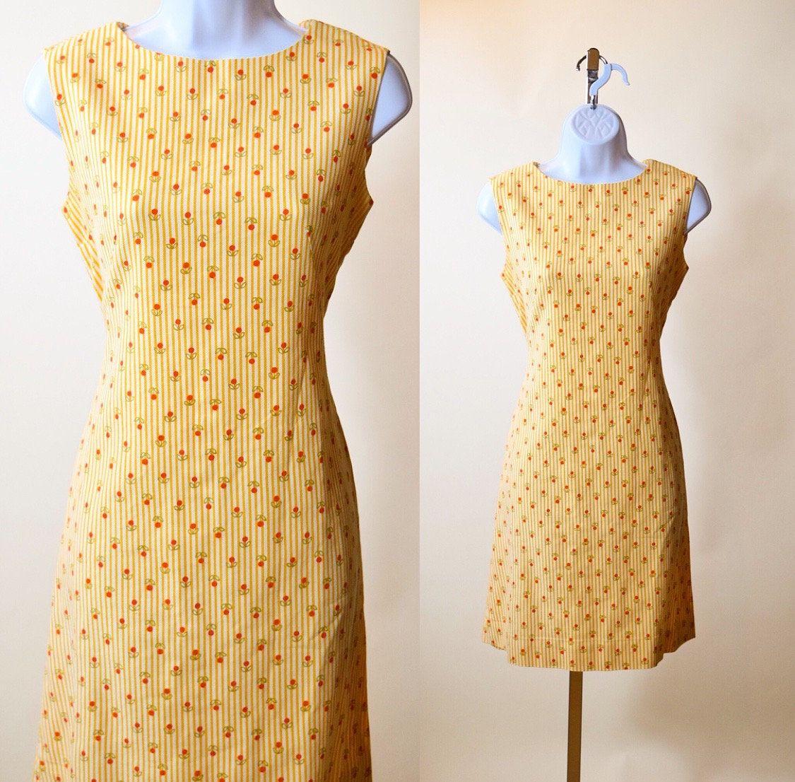 Women/'s Sleevless orange flowered small 1960s dress