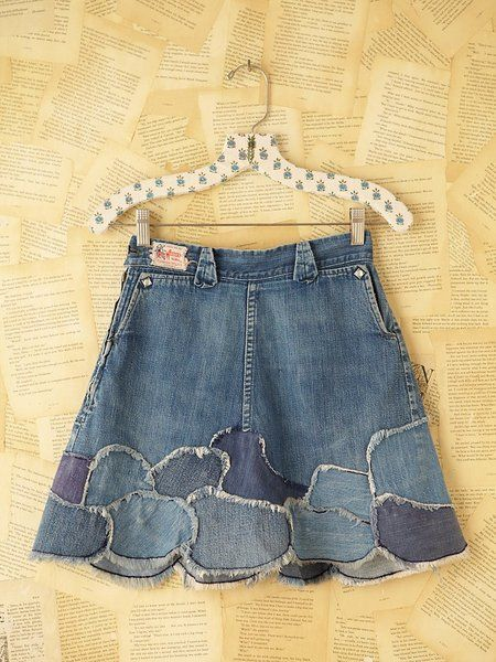 Blue Vintage Patchwork Denim Skirt