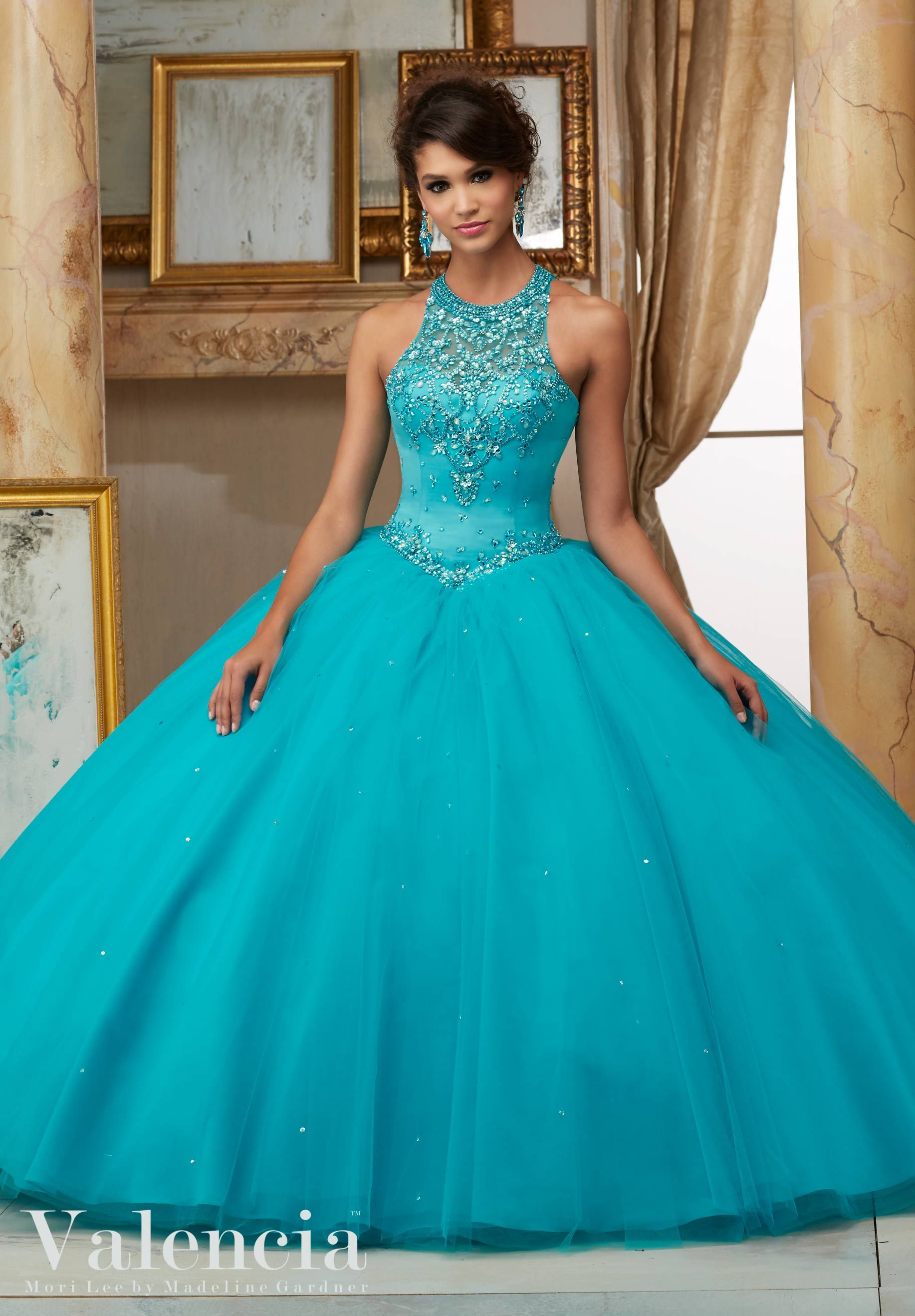 48575a2902c Jeweled Beaded Satin Bodice on Tulle Ball Gown Quinceanera Dress Designed  by Madeline Gardner. Matching Bolero Jacket. Colors Available  Capri