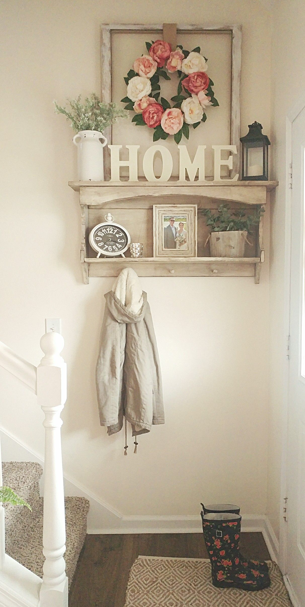 Shelves White Walls And Entry Ways: Small Entryway Spring Flowers Country White Farmhouse Style In 2019
