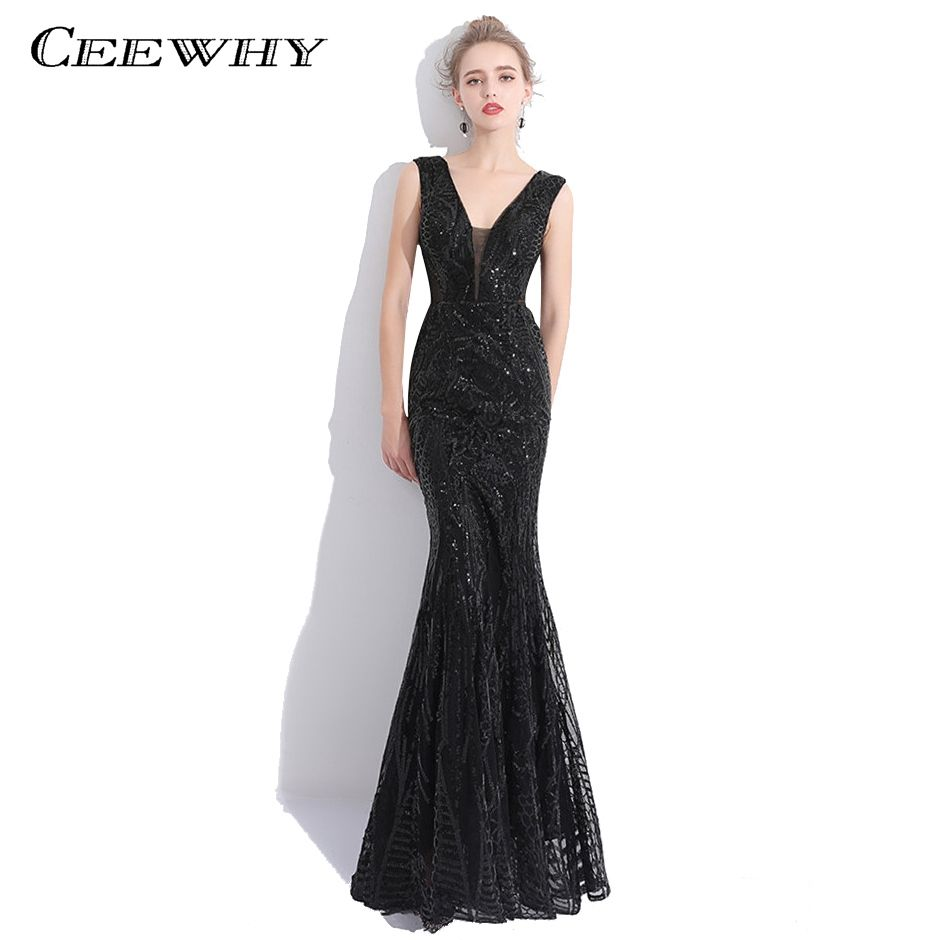 CEEWHY V-Neck Luxury Sexy Prom Dress Sequined Mermaid Evening Dresses Long  Tulle Formal Dress c6258455fd5c