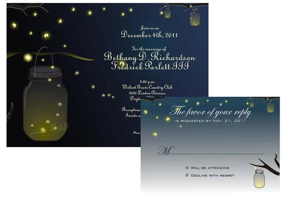 Printable Mason Jar Fireflies Wedding Invitation And By DigiFoto - Free mason jar wedding invitation templates