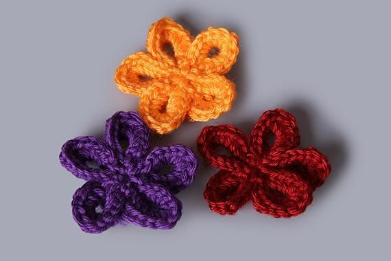 5 Petal Simple Accessory Flower | Crochet accessories, Flower and ...