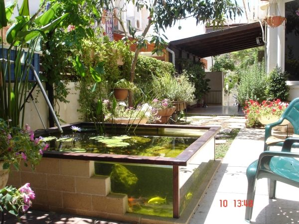 How to build a glass and brick pond monsterfishkeepers for Above ground koi fish pond