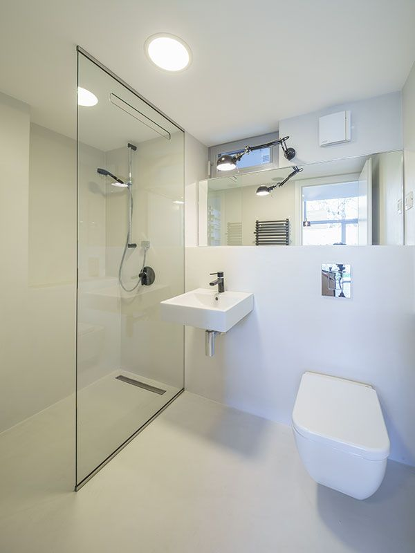 microtopping idealwork bathroom shower cladding cement effect silver ...